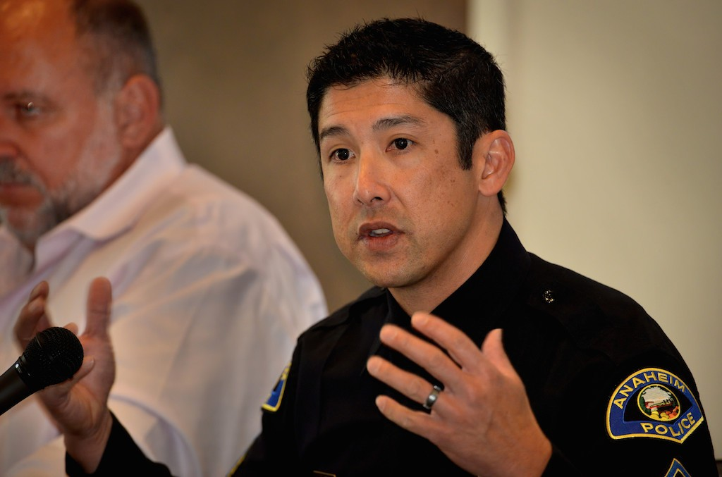 Darren Lee, Moderator and Police Sergeant for the Anaheim PD, sits on a panel discussion on mental health and how they are handled by law enforcement. Photo by Steven Georges/Behind the Badge OC