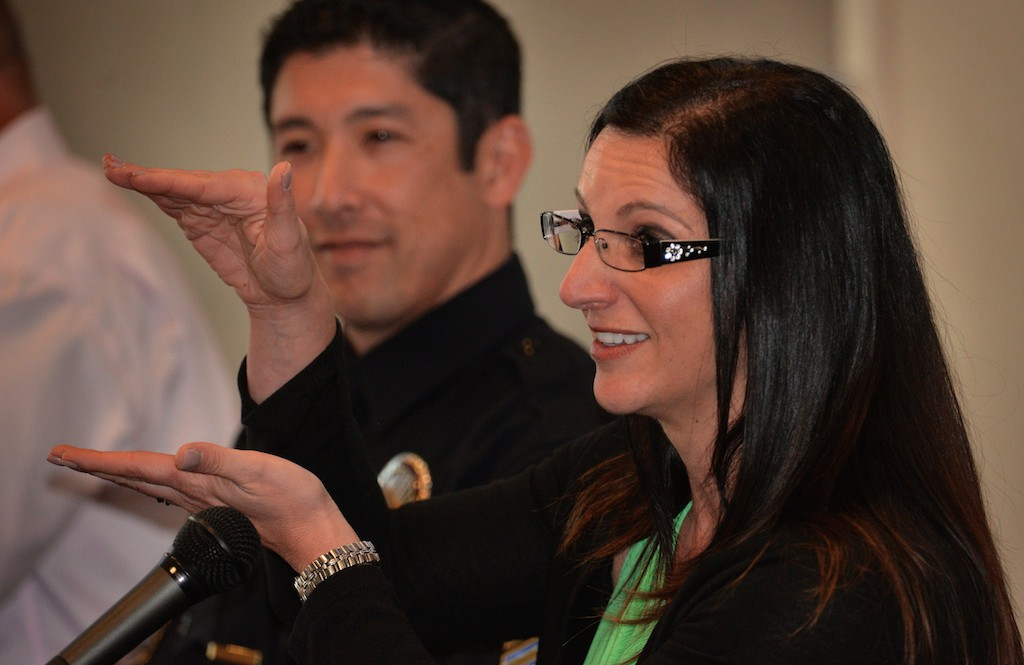 Heather Williams, Regional Peer Support Coordinator at the Orange County Sheriffs Department, on a panel discussion on mental health and how they are handled by law enforcement. Photo by Steven Georges/Behind the Badge OC