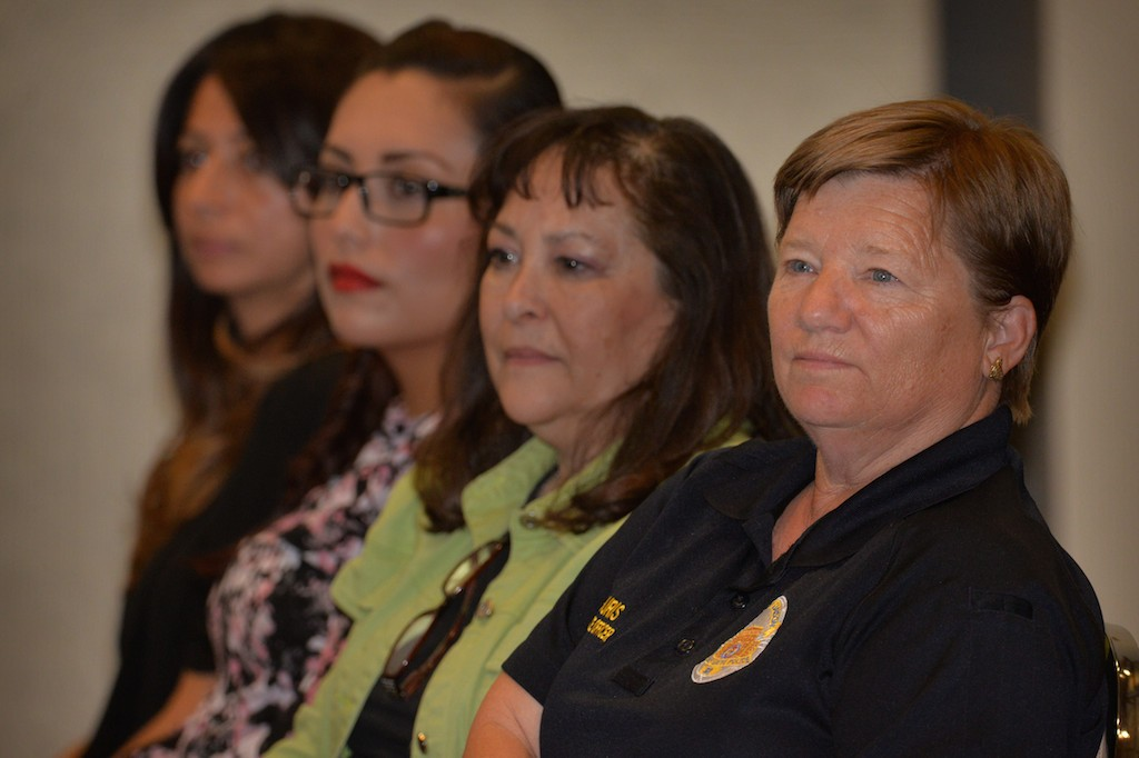 Kris Backouris, Community Service Officer for Garden Grove PD, right, attends a panel discussion on mental health and how they are handled by law enforcement. Photo by Steven Georges/Behind the Badge OC